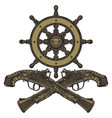 old flintlock pistols vector image