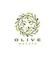 olive wreath tree branch logo icon vector image vector image