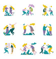 people giving high five to each other set male vector image vector image