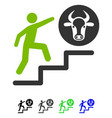 person climbing to cow flat icon vector image vector image