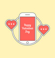 phone with hearts like messaging vector image