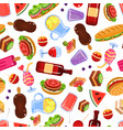 picnic food seamless pattern design element can vector image vector image