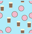 pie and coffee pattern seamless flat food vector image vector image