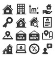 real estate icons set on white background vector image vector image