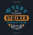 Rugby striker emblem vector image vector image
