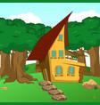 rural cartoon forest cabin landscape vector image vector image