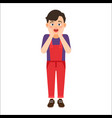 scared boy in denim overalls vector image vector image
