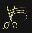 scissors and hair curl gold color vector image vector image