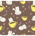 seamless pattern with cute fluffy cat cup vector image