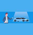 seller man present new car dealership center vector image vector image