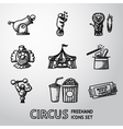 Set of CIRCUS freehand icons with - clown cannon vector image vector image