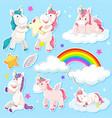 set of unicorn sticker vector image