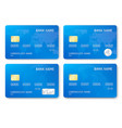 set realistic credit card template plastic vector image vector image