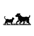 silhouette cat and dog vector image vector image
