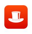 silk hat icon digital red vector image vector image