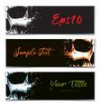 skull artistic splatter banners black orange vector image vector image