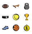 Sporting equipment icons set cartoon style