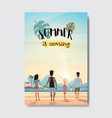 summer love people holding hands looking sunrise vector image vector image