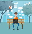 teenager using laptop in a bench in the park vector image