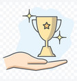 trophy in hand icon isolated on transparent vector image vector image