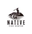 vintage native hunter logo with a man aiming fish vector image