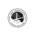 vintage stamp dan fransisco bridge logo vector image vector image