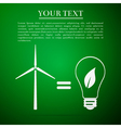 Wind turbine and bulb with leaves as idea of vector image vector image