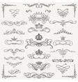 Black Vintage Hand Drawn Swirls and Crowns vector image