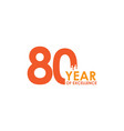 80 year excellence template design vector image vector image