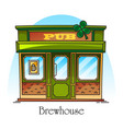 bar or pub facade in thin line brewery brewhouse vector image vector image