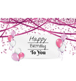 birthday card with balloons and ribbons vector image vector image