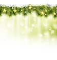 border fir twigs with golden stars in soft light vector image vector image