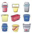 bucket types container icons set cartoon style vector image vector image