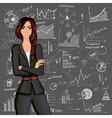 Business woman doodle background vector image vector image