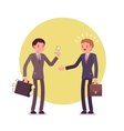 Businessman is giving money to another man vector image