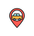 car location map pointer with taxi flat color vector image