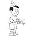 Cartoon boy eating cake vector image vector image