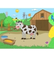 Cartoon cow in farm color book children vector image