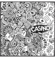 Cartoon hand-drawn doodles casino gambling vector image vector image