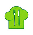 chef hat and spoon fork knife sign vector image vector image