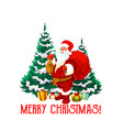 christmas holiday icon of santa claus with gift vector image