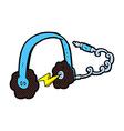 comic cartoon headphones vector image