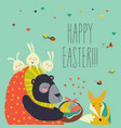 cute bear gives basket with ester eggs to fox vector image vector image