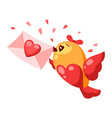 cute bird in love with letter valentine day vector image