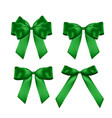 decorative green bow collection set 3d realistic vector image