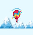 discover the world paper hot air balloon concept vector image