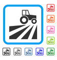 farm field with tractor framed icon vector image