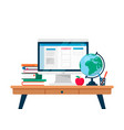 flat online education set include books vector image vector image