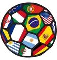 football soccer ball made flags vector image vector image
