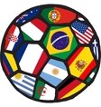 Football soccer ball made of flags vector image